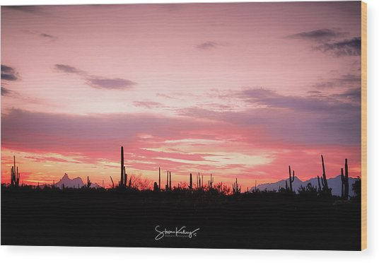 Picacho Sunset Wood Print