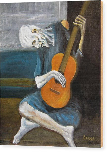 Picasso's Old Guitarist Wood Print