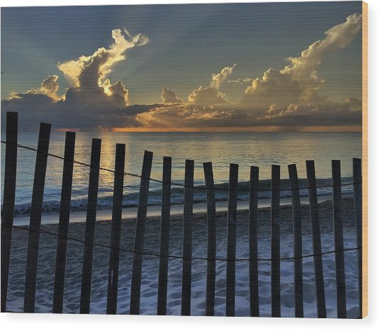 Picket Fence On The Beach Wood Print