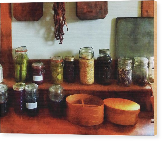Pickles Beans And Jellies Wood Print