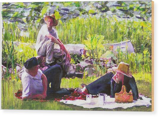 Picnic By The Lake Wood Print by Randy Sprout