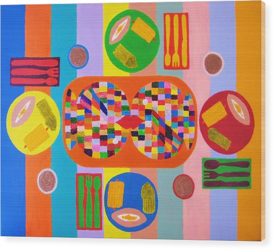 Picnic Number One Wood Print by Ricky Gagnon