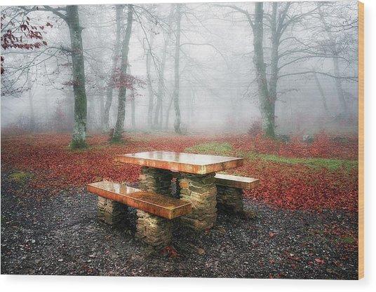Picnic Of Fog Wood Print