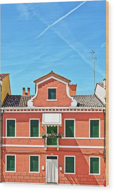 Picturesque House In Burano Wood Print