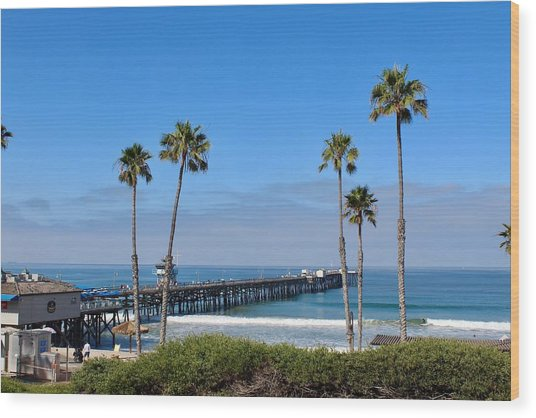 Pier And Palms Wood Print