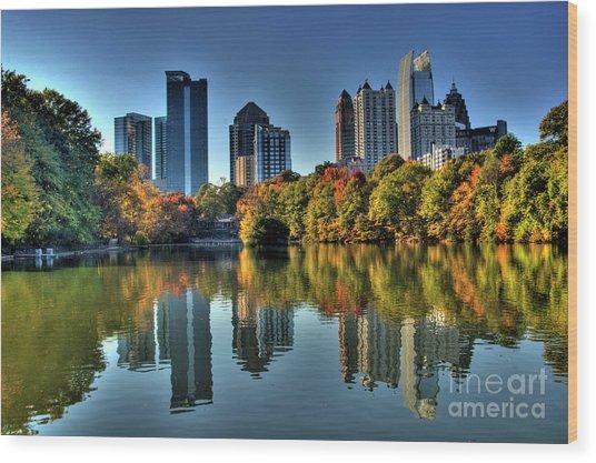 Piedmont Park Atlanta City View Wood Print