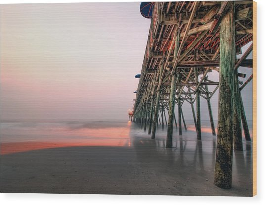 Pier And Surf Wood Print