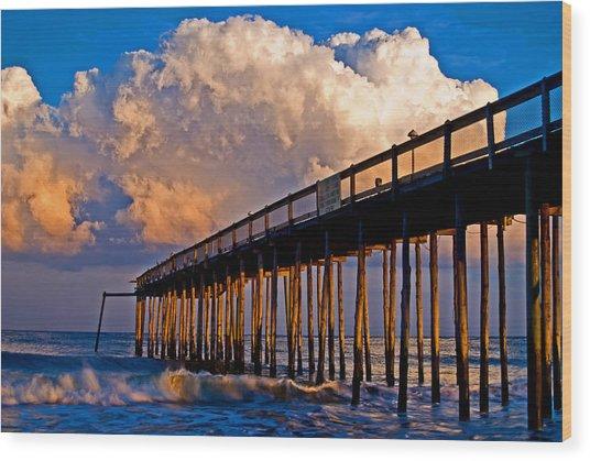 Pier At Sundown In Ocean City Wood Print