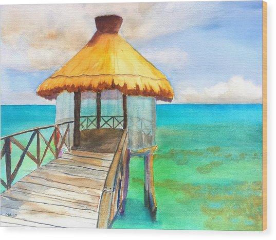 Pier Gazebo At Mayan Palace Wood Print