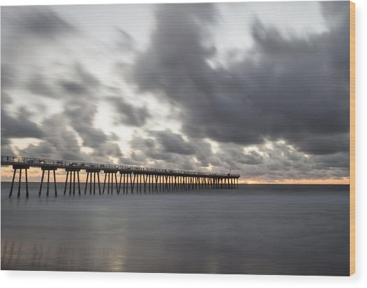 Pier In Misty Waters Wood Print