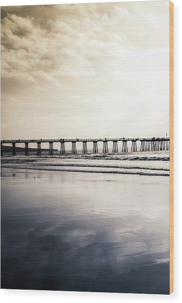 Pier On Duotone Wood Print