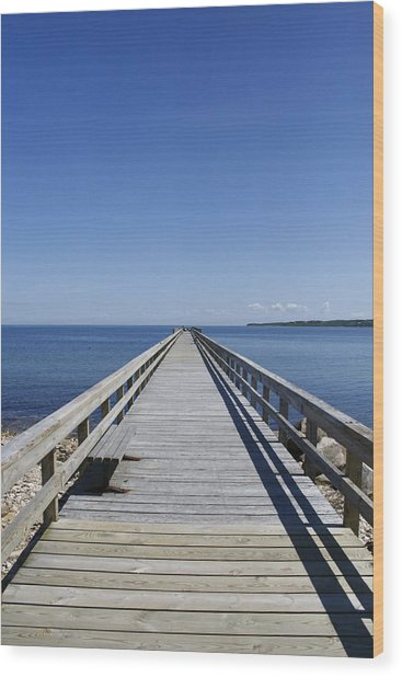 Pier On Fort Pond Bay Montauk Wood Print