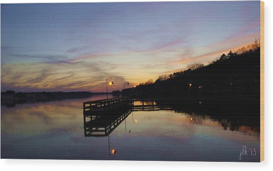 Pier Silhouetted In The Sunset On The Coosa River Wood Print