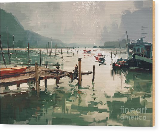 Wood Print featuring the painting Pier by Tithi Luadthong
