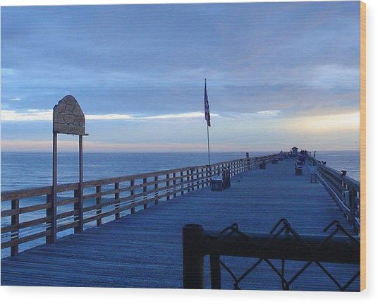 Pier View At Sunrise Wood Print