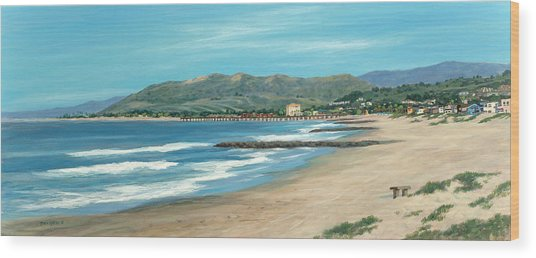 Pierpont Beach And The Bench Wood Print by Tina Obrien