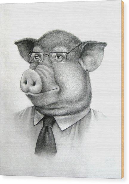 Pig Boss Wood Print by Vlad Krichenko