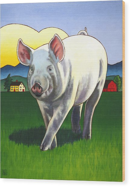 Pig Newton Wood Print