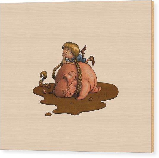 Pig Tales Wood Print