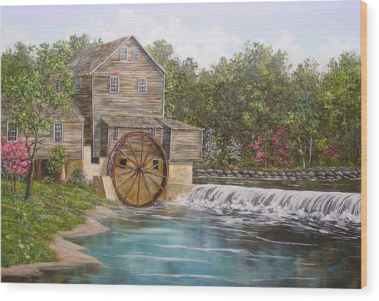 Pigeon Forge Mill Wood Print by Marveta Foutch