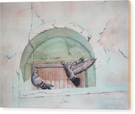 Pigeon Perch Wood Print