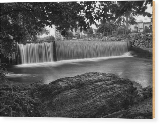 Pigeon River At Old Mill In Black And White Wood Print