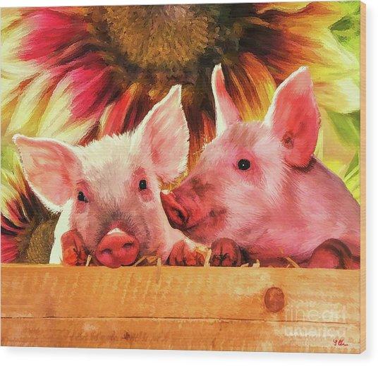 Piglet Playmates Wood Print