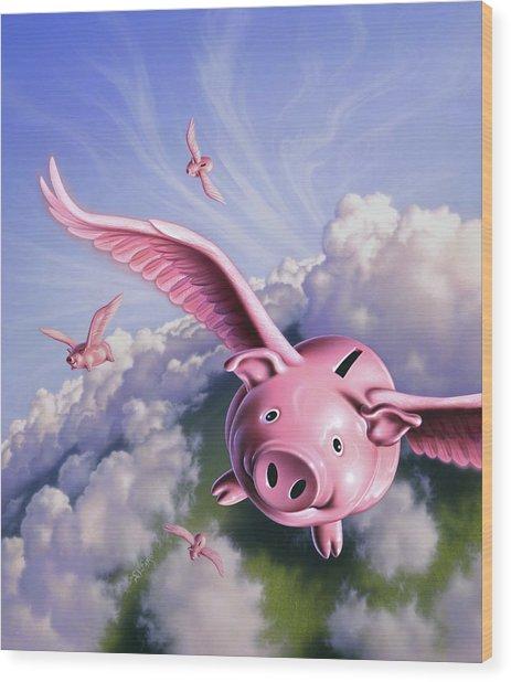 Pigs Away Wood Print