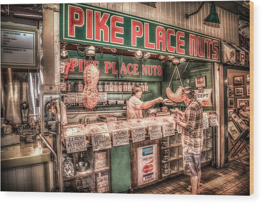 Pike Place Nuts Wood Print