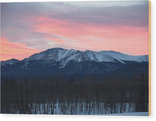 Sunrise Pikes Peak Co Wood Print