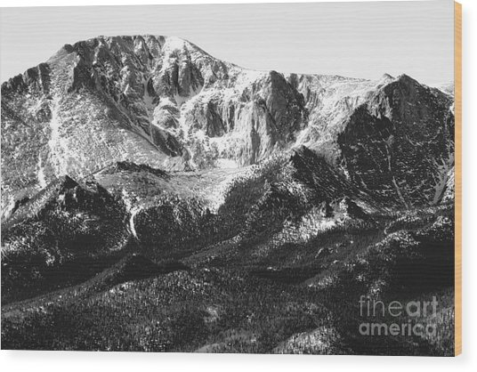 Pikes Peak Black And White In Wintertime Wood Print