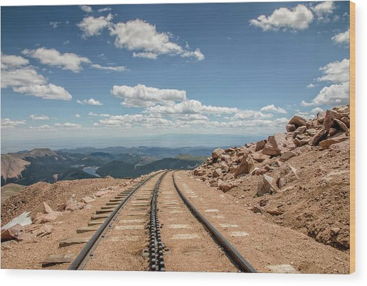 Pikes Peak Cog Railway Track At 14,110 Feet Wood Print