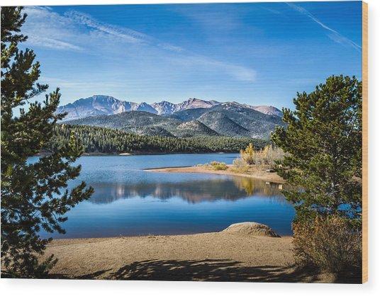 Pikes Peak Over Crystal Lake Wood Print