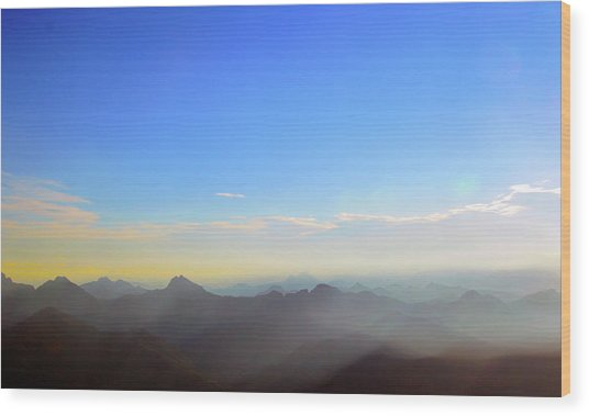 Pilchuck And Three Sisters Sunrise Wood Print