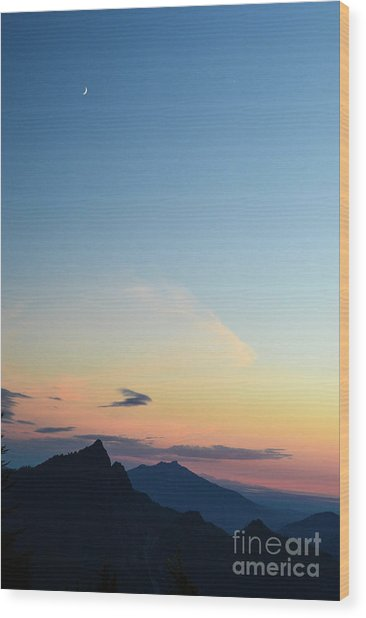 Pilchuck Sunset Wood Print