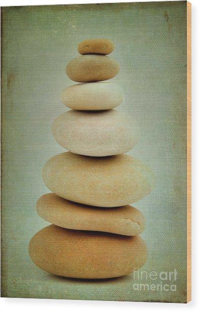 Pile Of Stones Wood Print