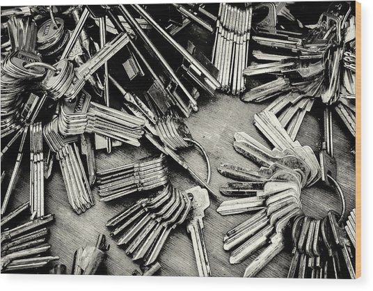 Piles Of Blank Keys In Monochrome Wood Print