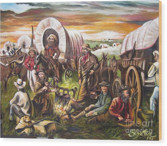 American    History  Pilgrims On The Plain Wood Print