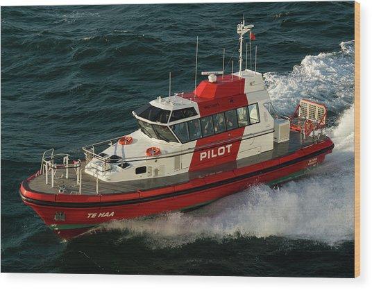 Pilot Boat Wellington Wood Print