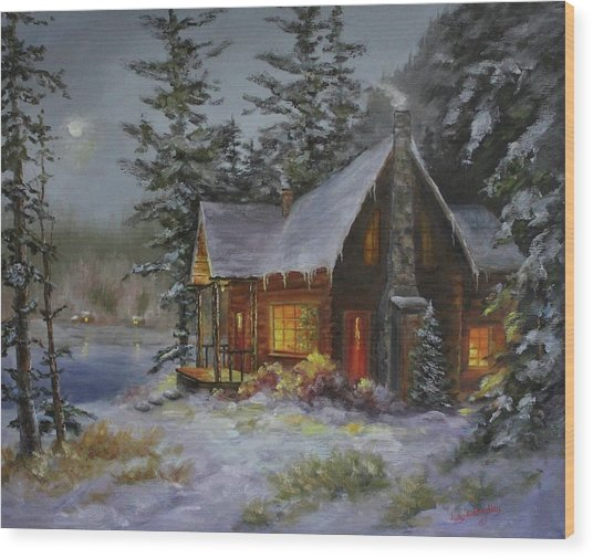 Pine Cove Cabin Wood Print