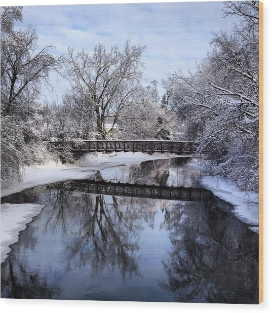Pine River Foot Bridge From Superior In Winter Wood Print