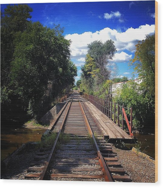 Pine River Railroad Bridge Wood Print