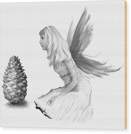 Pine Tree Fairy With Pine Cone B And W Wood Print