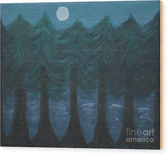 Pine Tree Lake Wood Print