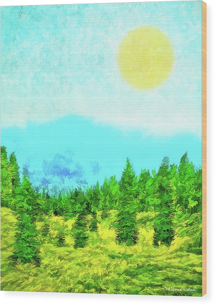 Pine Tree Mountain Blue - Shasta California Wood Print