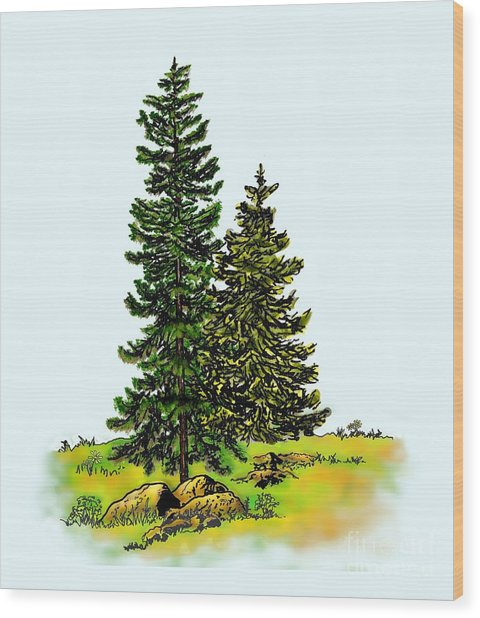 Pine Tree Nature Watercolor Ink Image 2b        Wood Print