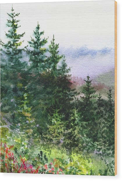Pine Trees And Meadow  Wood Print