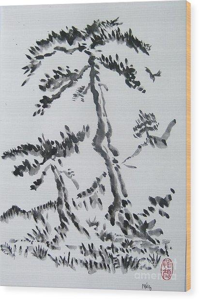 Pine Trees On Tokaido Road Wood Print