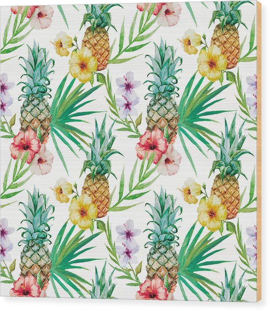 Pineapple And Tropical Flowers Wood Print