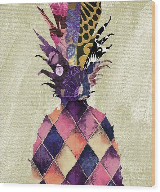 Pineapple Brocade II Wood Print